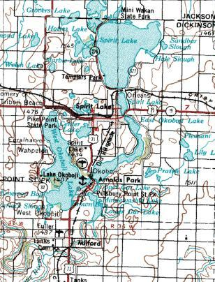 The Iowa Great Lakes located primarily in Dickinson County, in the northwestern section of Iowa near the Minnesota border. Wpdms usgs iowa great lakes.jpg