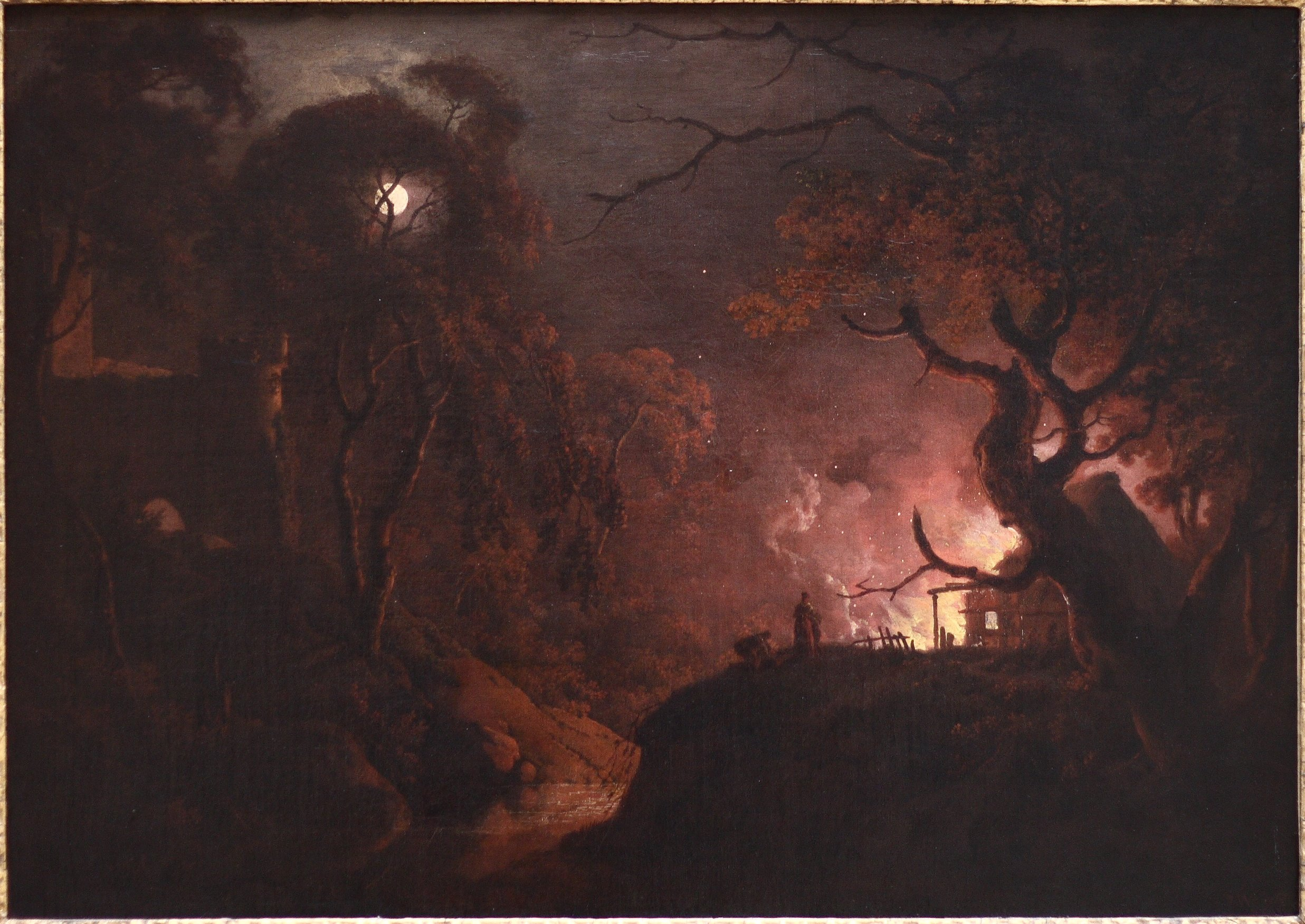 File:Wright of Derby, Cottage on Fire at Night.JPG ...