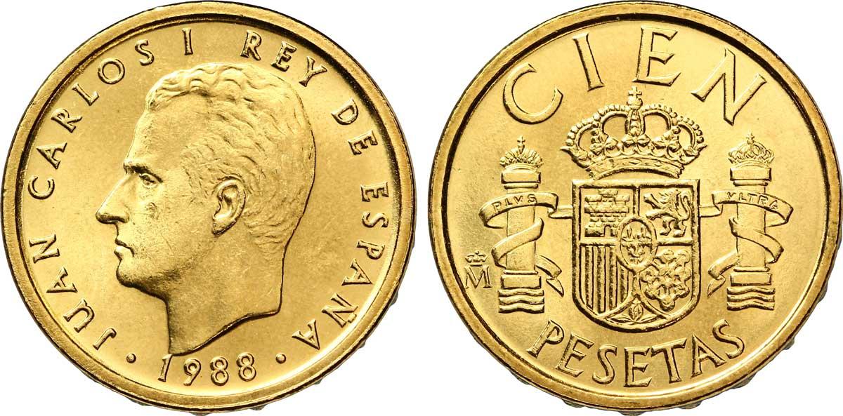 Moneda representativa de Juan Carlos I 100_pesetas_%C3%A0_l'effigie_de_Juan_Carlos_I,1988