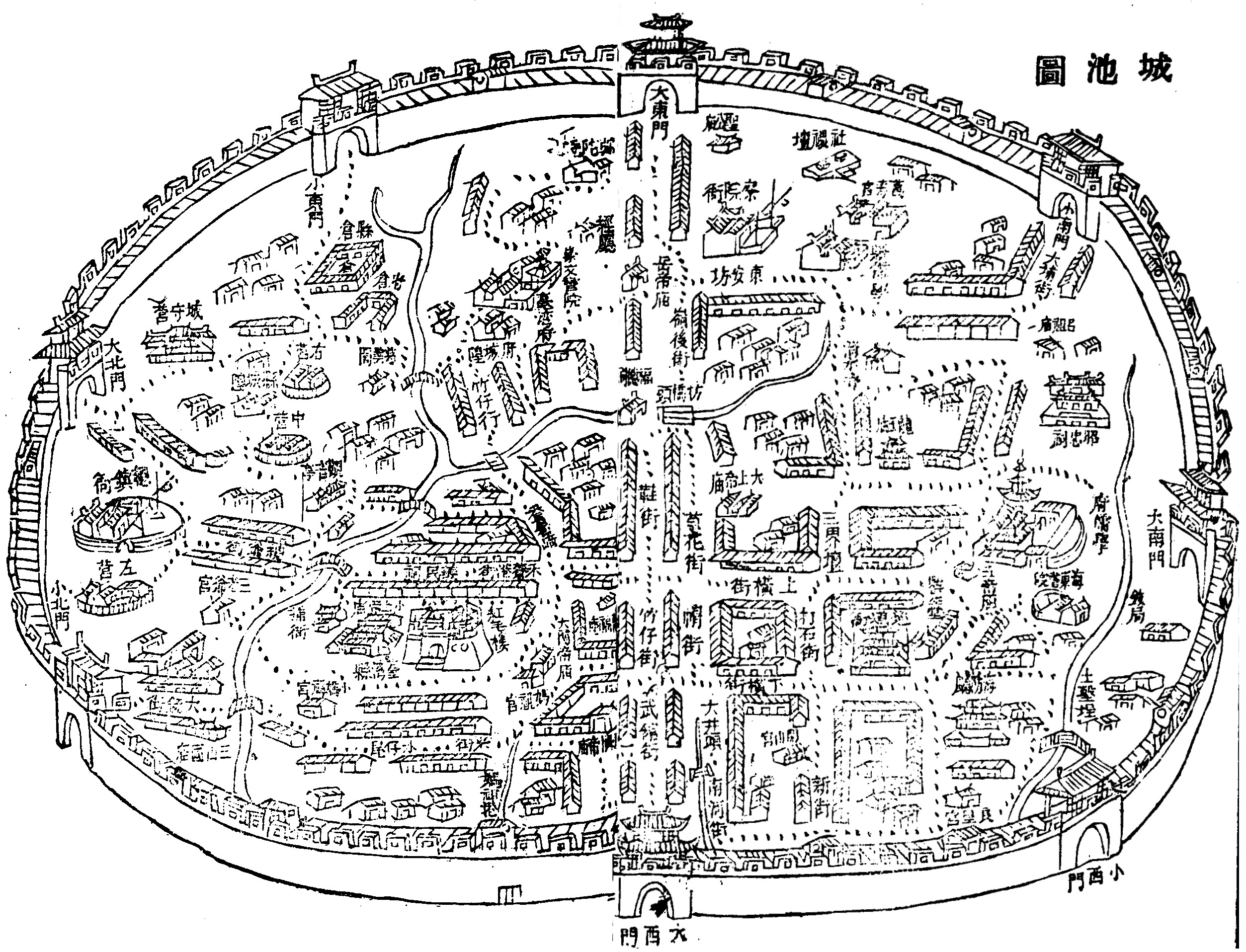 【1807 Taiwan city fortifications】由 1807年,謝金鑾《續修臺灣縣志》臺灣縣城池圖。使用來自維基共享資源的公共領域條款授權。
