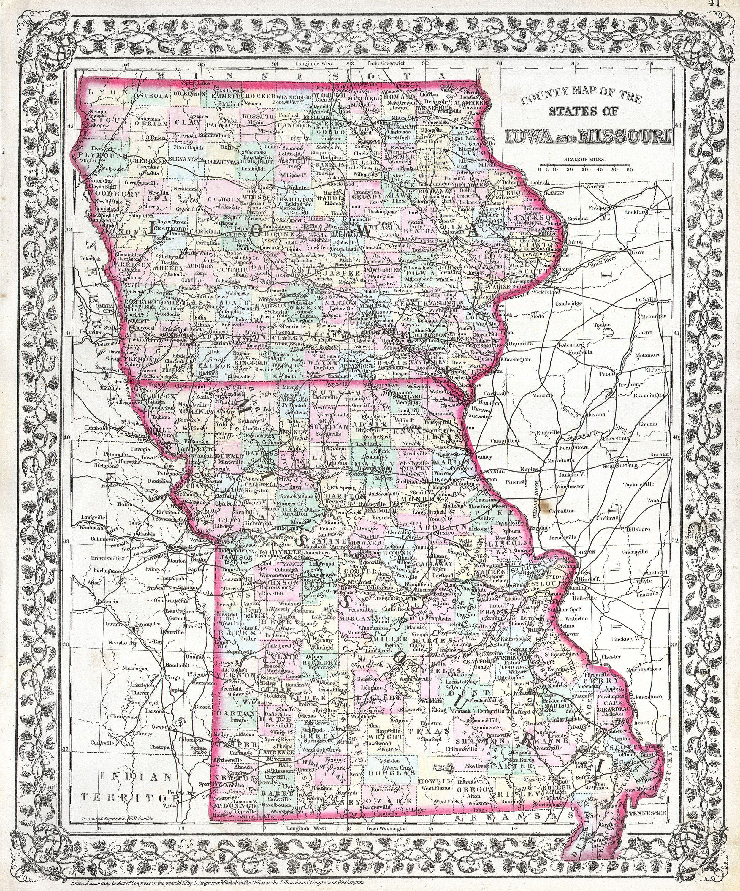 File1874 Mitchell Map Of Iowa And Missouri  Geographicus