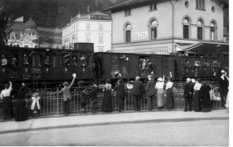 1914 Eisenbahnzug mit Soldaten, Beginn Erster Weltkrieg in Bad Ems, Julius Goebel, Stadtmuseum Bad Ems