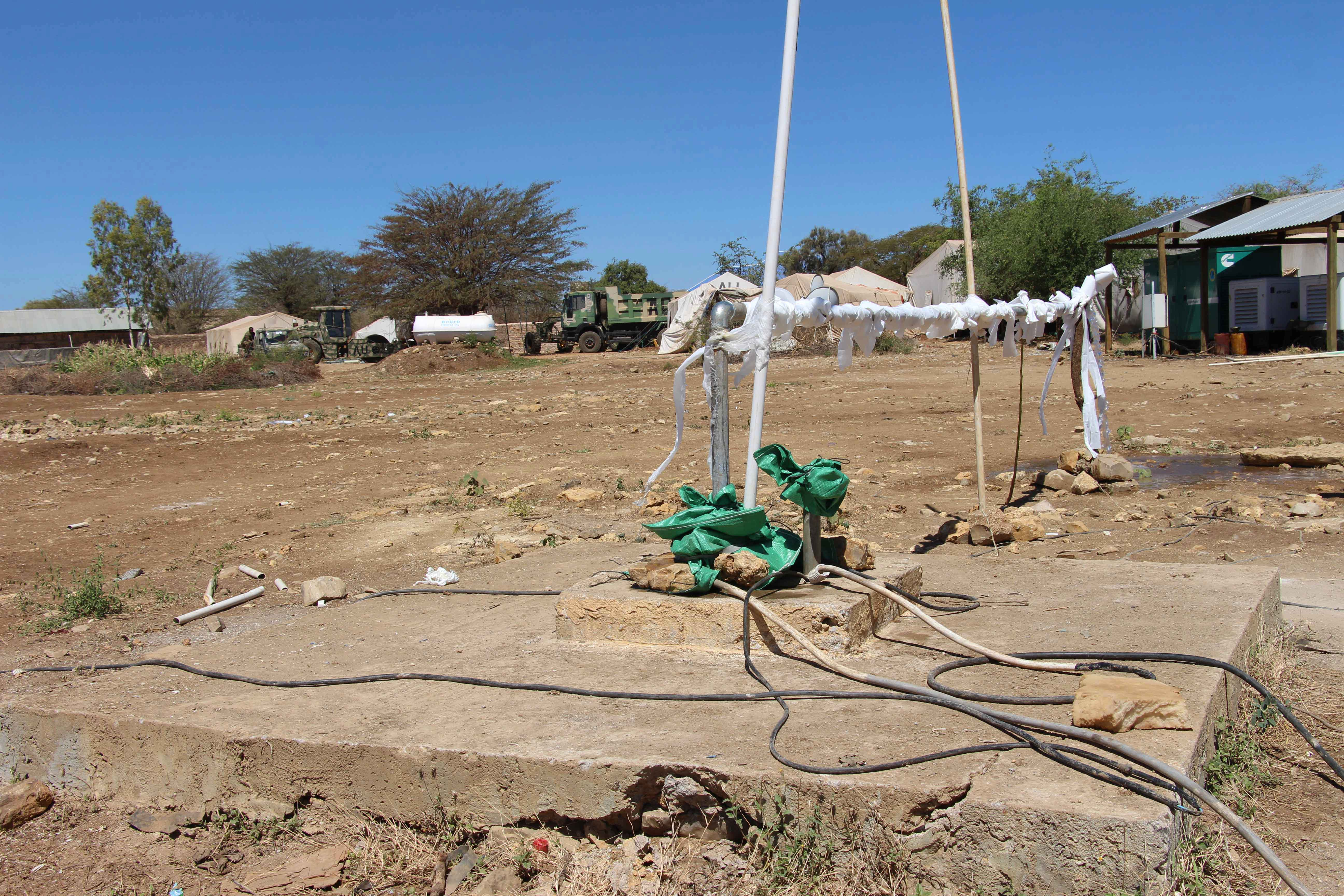 2017 04 ENDF Renovate Wells-1 (31955930662).jpg English: A piped system at a water well rehabilitated by the African Union Mission in Somalia