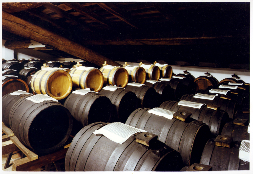 Balsamic vinegar being aged in barrels