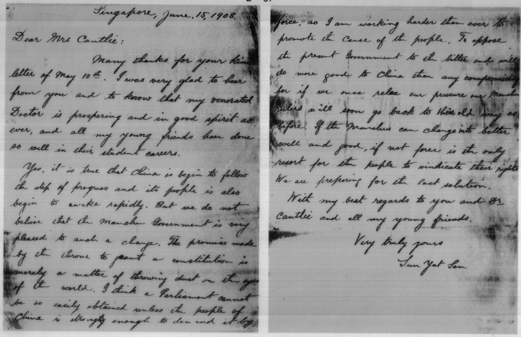 filea letter to mrs cantile that sun yat sen wrote in english