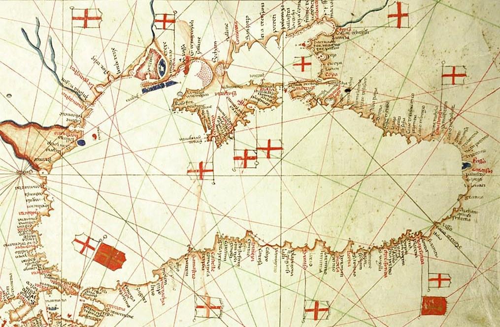Sea Chart: Albino de Canepa. The east of 1489 Portolan Chart. From the ,Chart