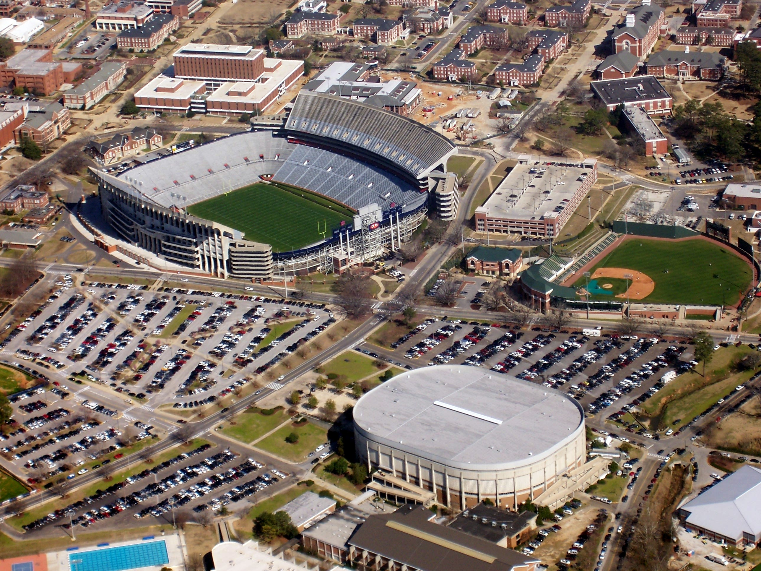 Jordan-Hare Stadium, Beard-Eaves-Memorial Coliseum, and Samford Stadium-Hitchcock Field at Plainsman Park on the Auburn University campus