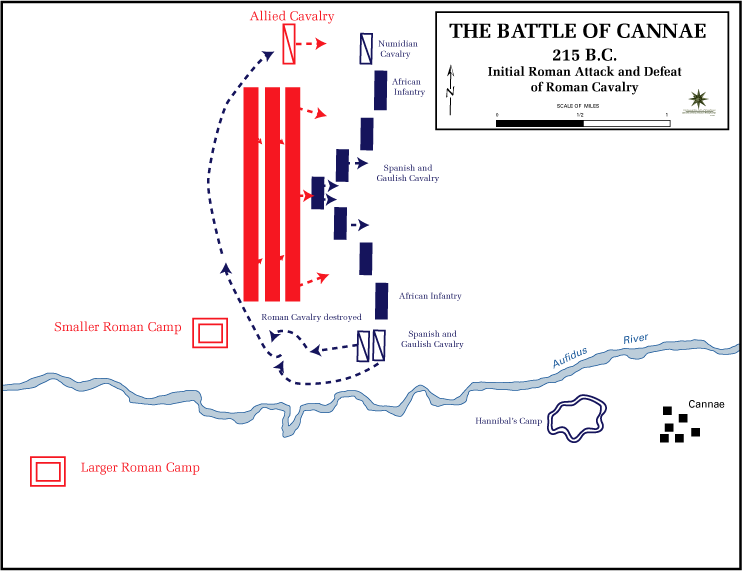 Battle of Cannae, 215 BC - Initial Roman attack.png
