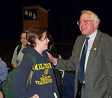 Sanders meeting with students at Milton High School in Milton, Vermont, 2004 Bernie Sanders at Milton High School - Milton, Vermont.jpg