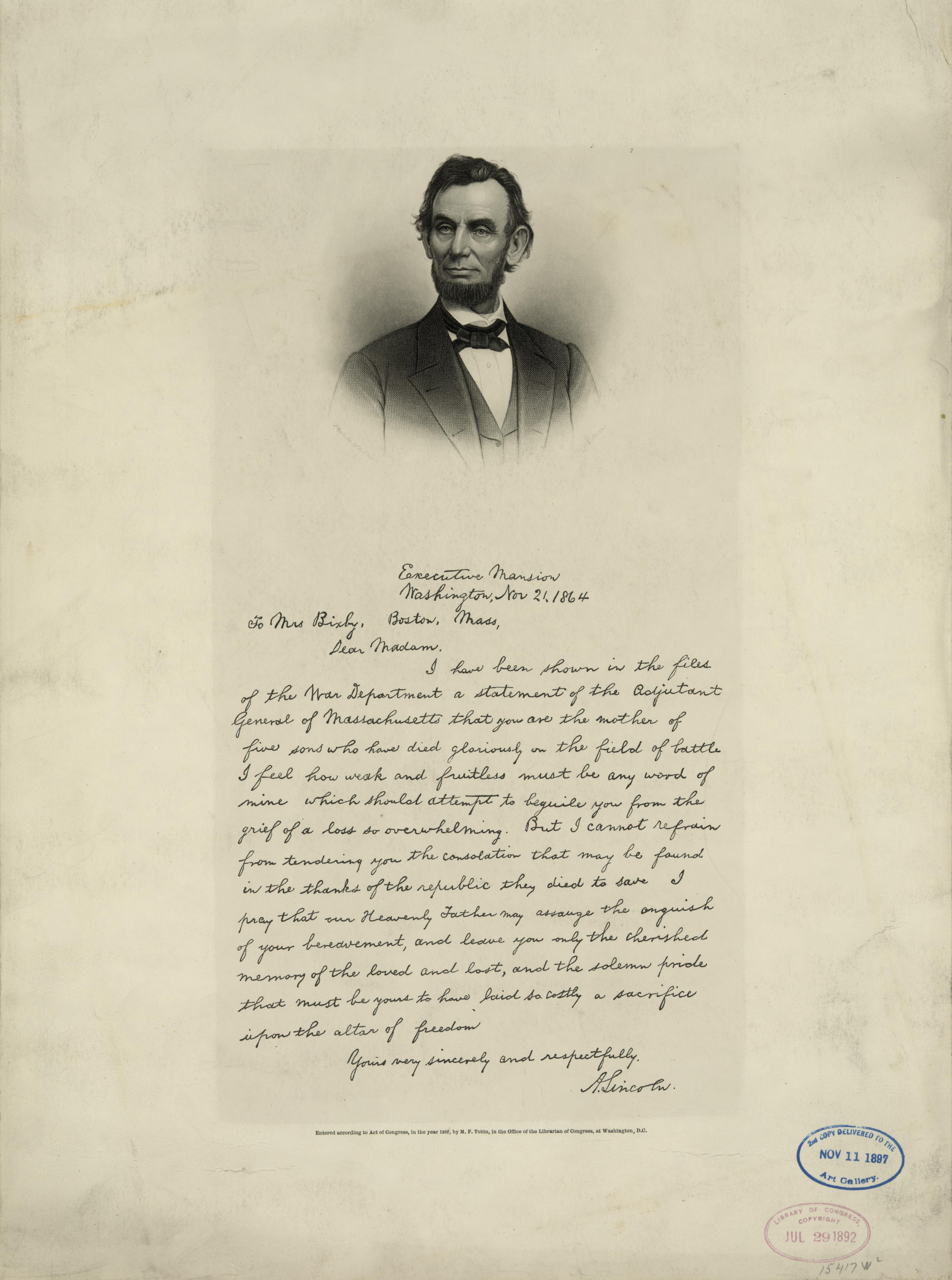 File:Bixby Letter (Tobin facsimile) jpg - Wikimedia Commons