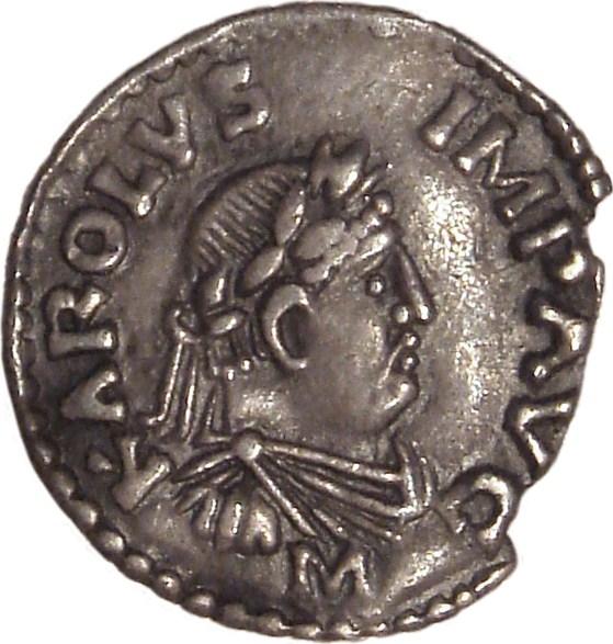 Silberpfennig, Abbildung von KAROLUS IMP AVG (Karl dem Großen zugeschrieben)