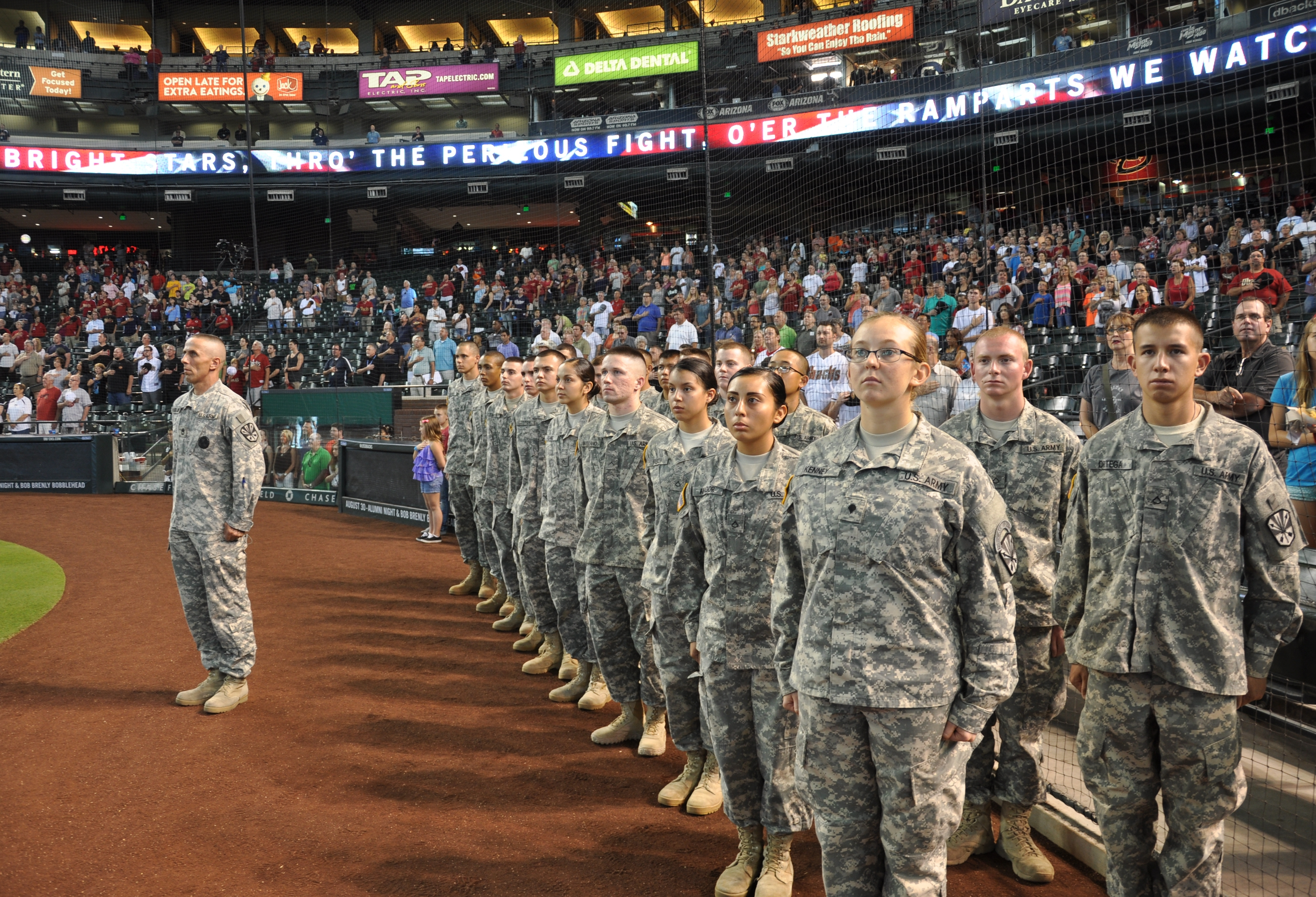 File:Crowd cheers mass Army Guard enlistment at D-Backs game ...