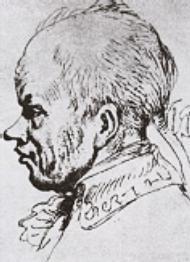 Набросок (карикатурный) головы Суворова, сделанный с натуры в 1795 году графиком Яном Норблином.