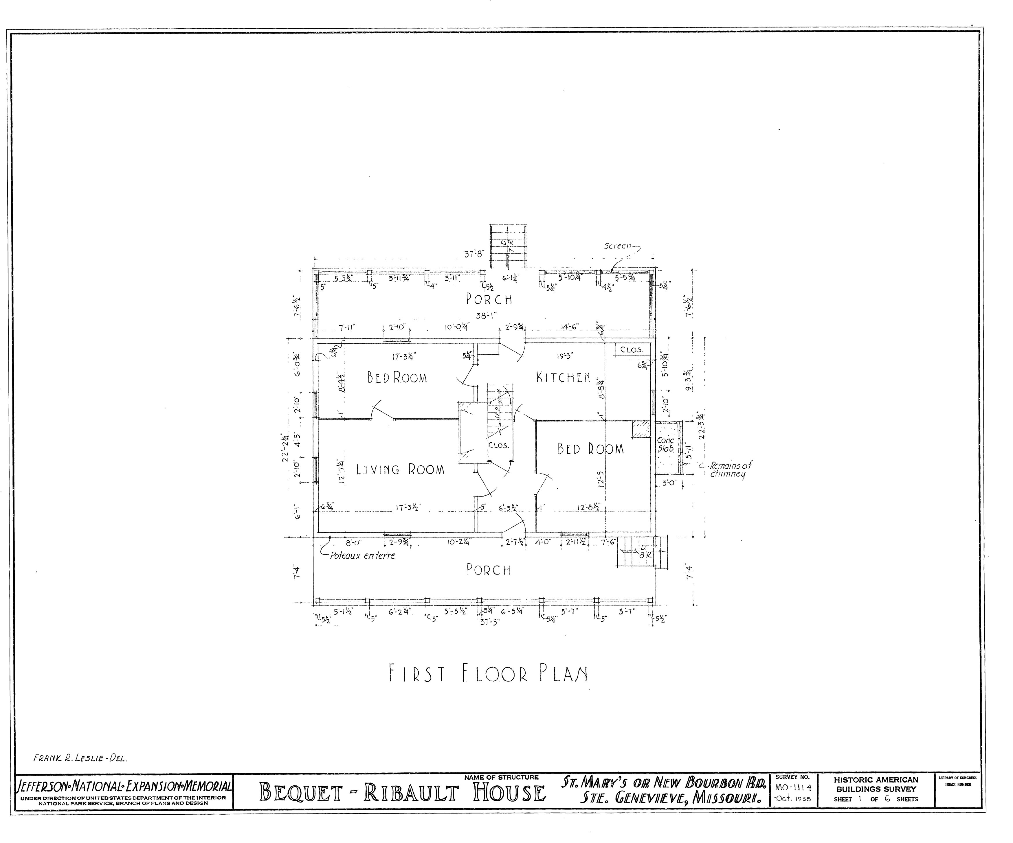 File drawing of the 1938 floor plan of the bequet ribault for Floor drawing