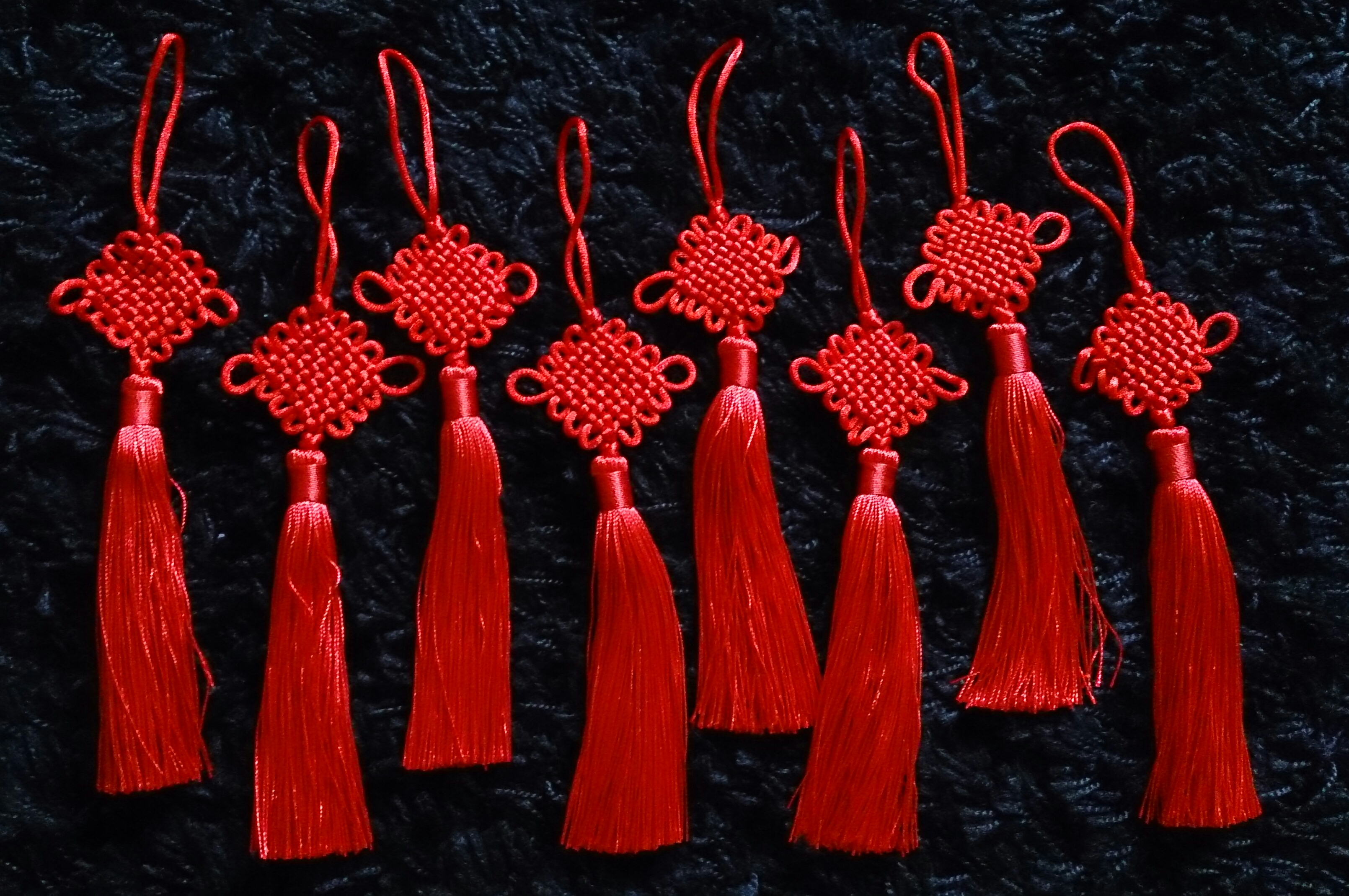 Red Lucky Chinese Wall Hanging Knot  with Tassel Charm Feng Shui