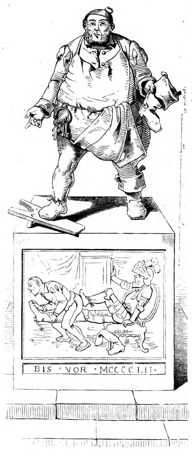 Stiefelknecht, Karikatur von Carl Spitzweg in der Wochenschrift Fliegende Blätter, 1845