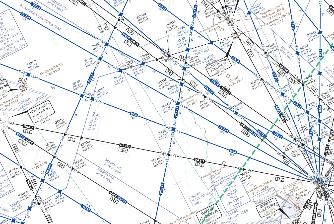 Aviation Weather Charts: IFR high altitude en route chart section - Teres - UZ6 airway ,Chart