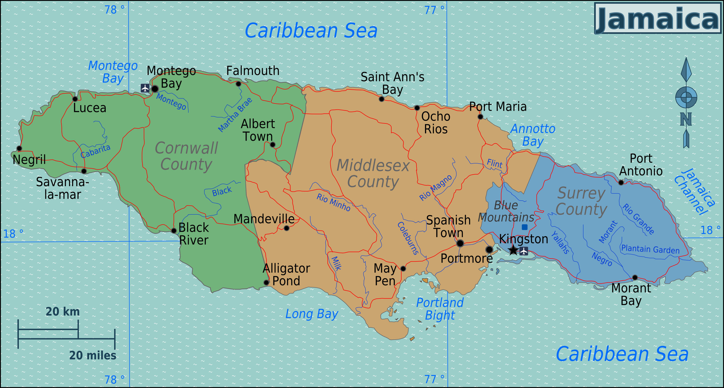 FileJamaica Regions Mappng Wikimedia Commons - Jamaica map
