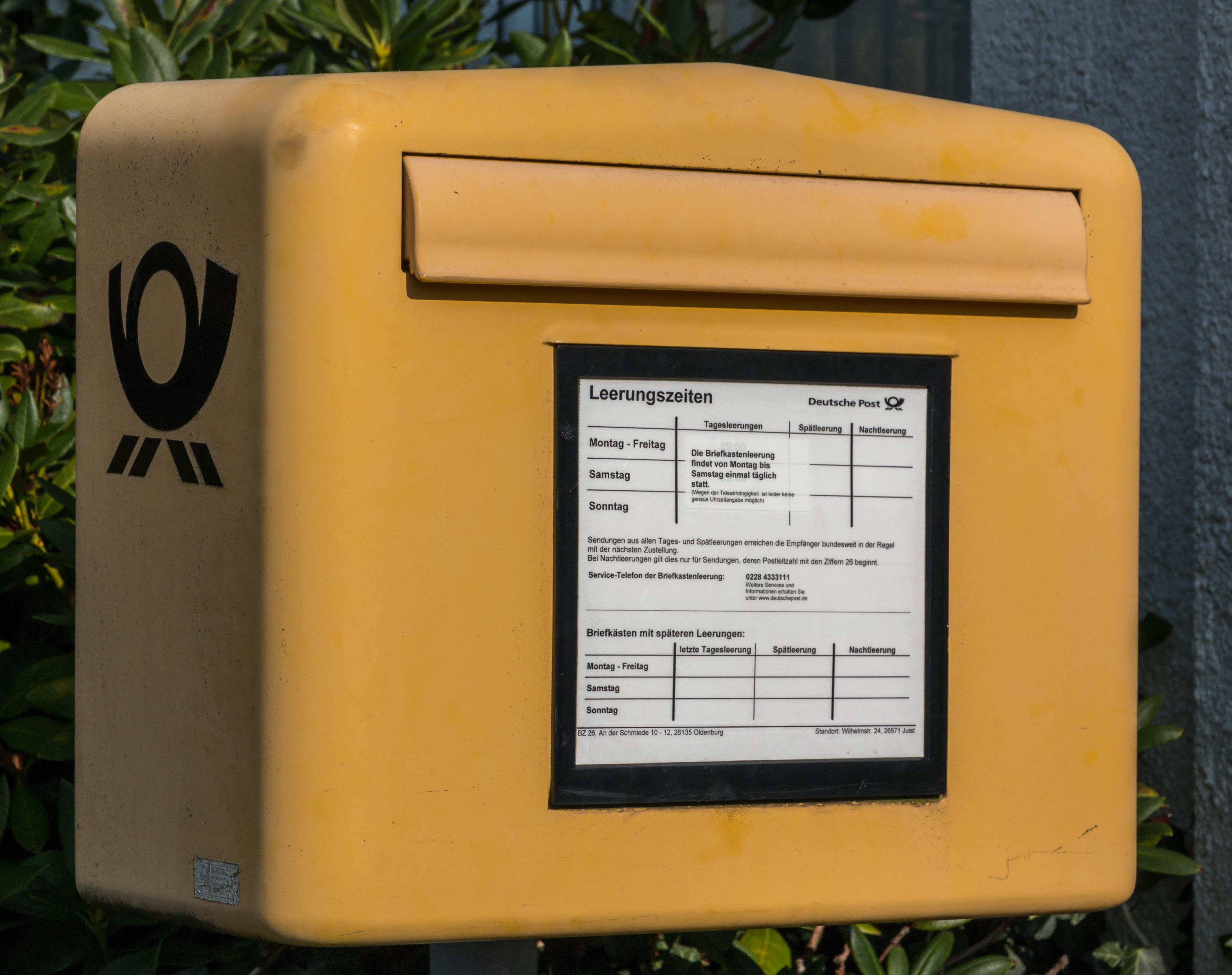 Briefkastenleerung Samstag