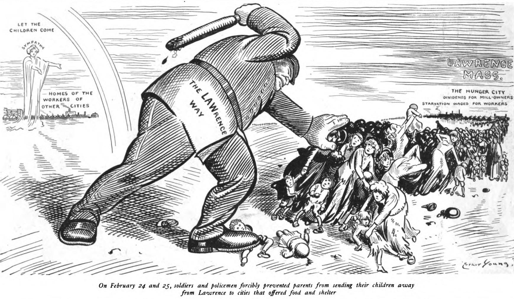 """Политическая карикатура того времени, на которой изображены голодающие иммигранты и полицейская сила, которую направили на подавление по сути голодного бунта. Видимо еще один """"караван"""" и что тогдашние Трампы думали об этом."""