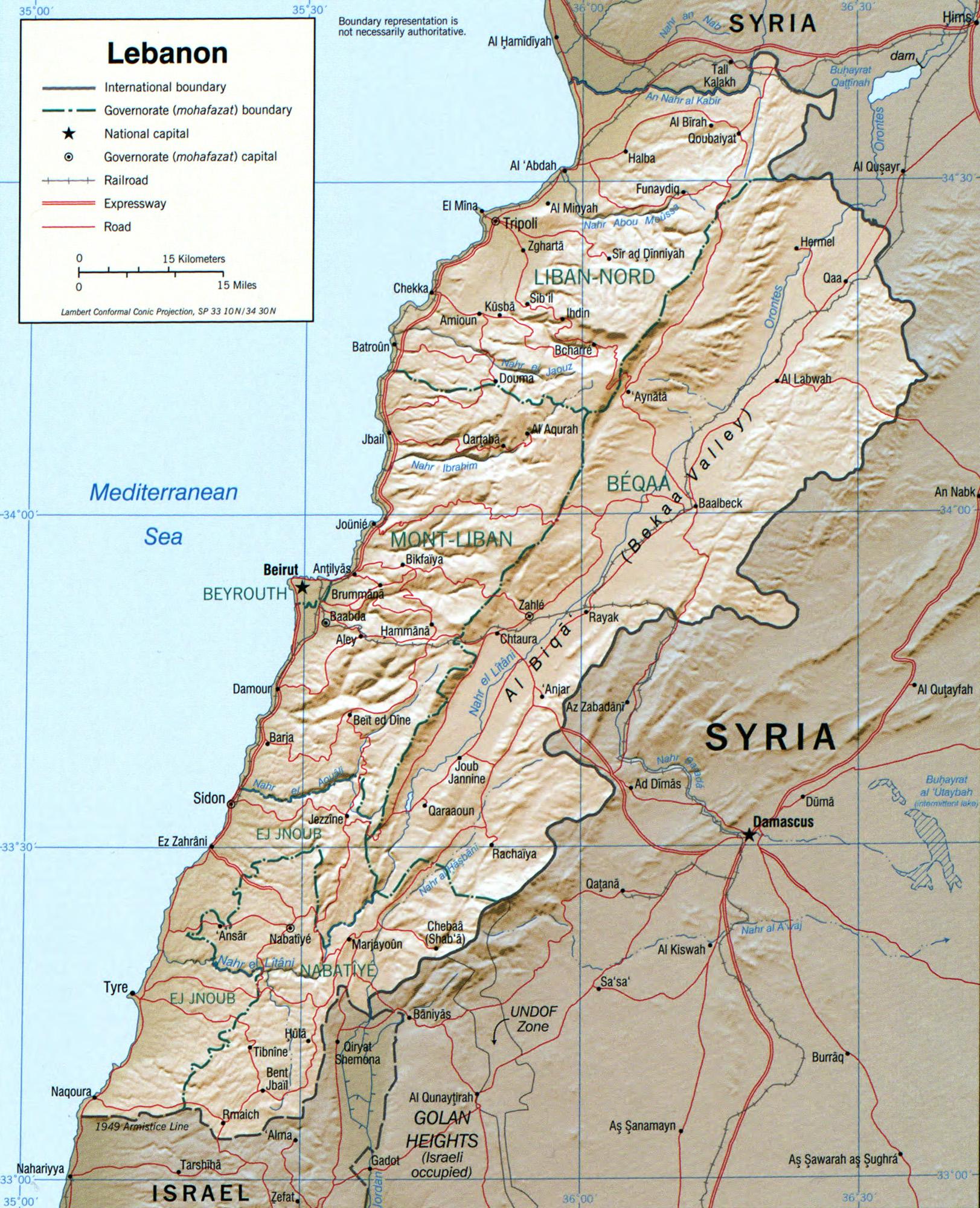 レバノンの地理 , Wikipedia