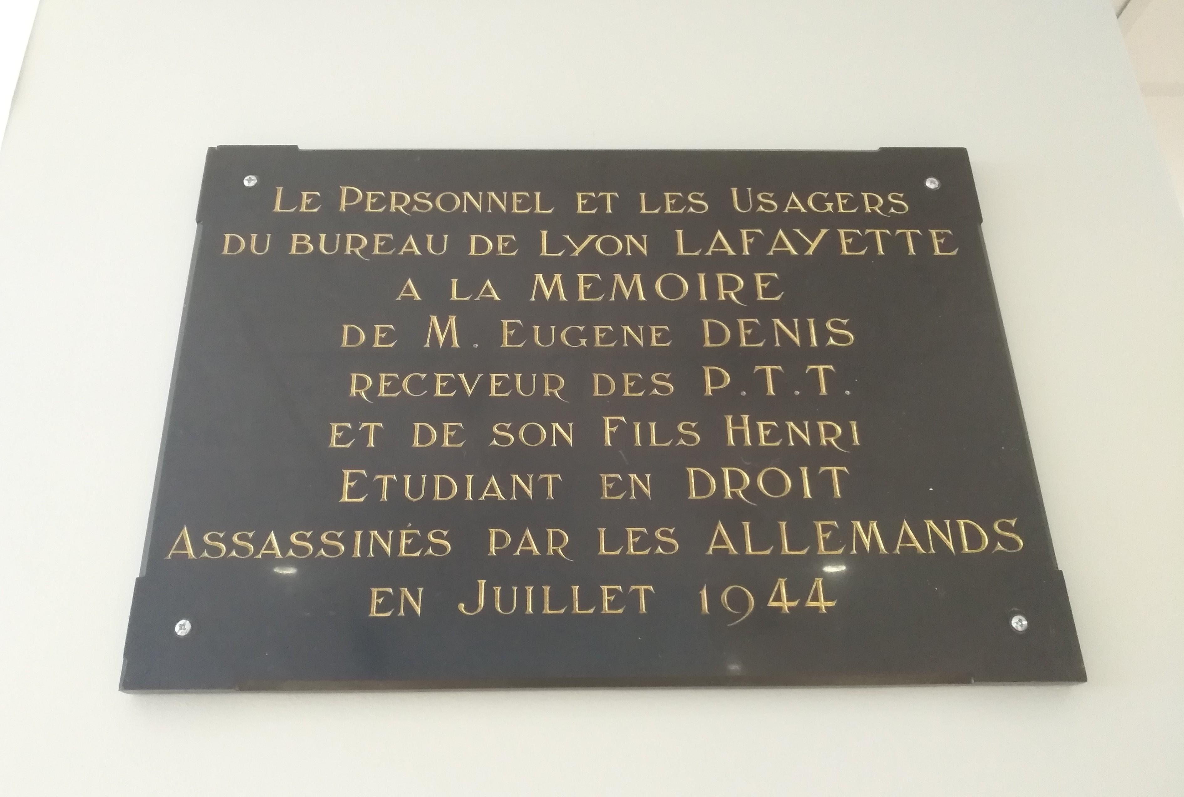 File Lyon 3e Plaque Hommage Eugene Denis Dans La Poste Lafayette Aout 2019 Jpg Wikimedia Commons