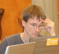 Markus Neteler during the QGIS Hackfest in Pisa 2010