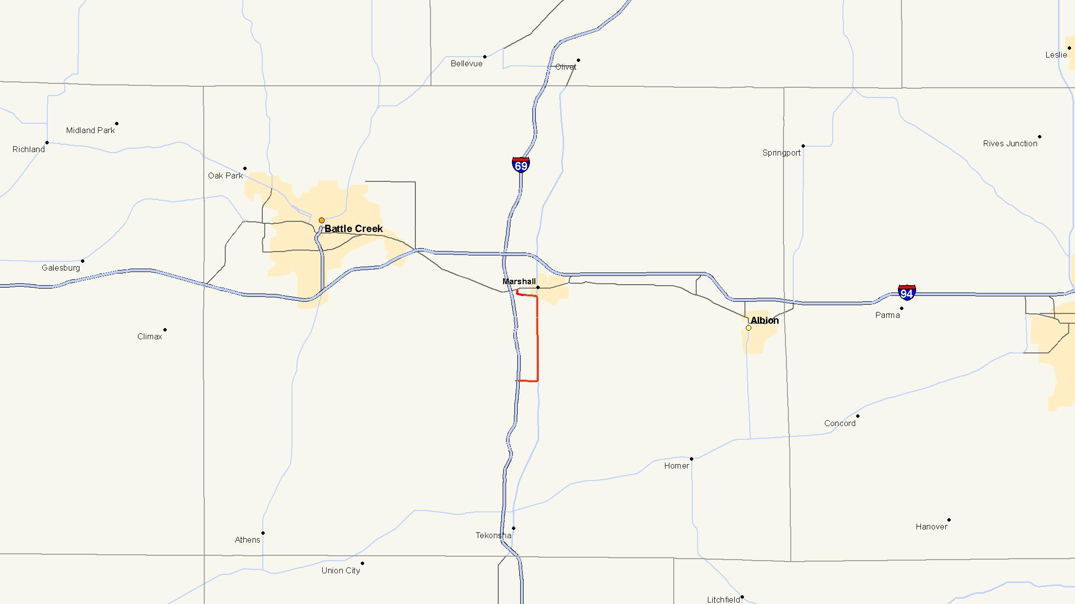 Concord Michigan Map.M 227 Michigan Highway Wikipedia
