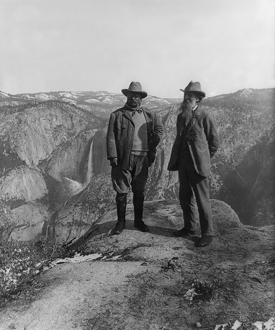 Theodore Roosevelt and John Muir at Glacier Point in Yosemite, 1903