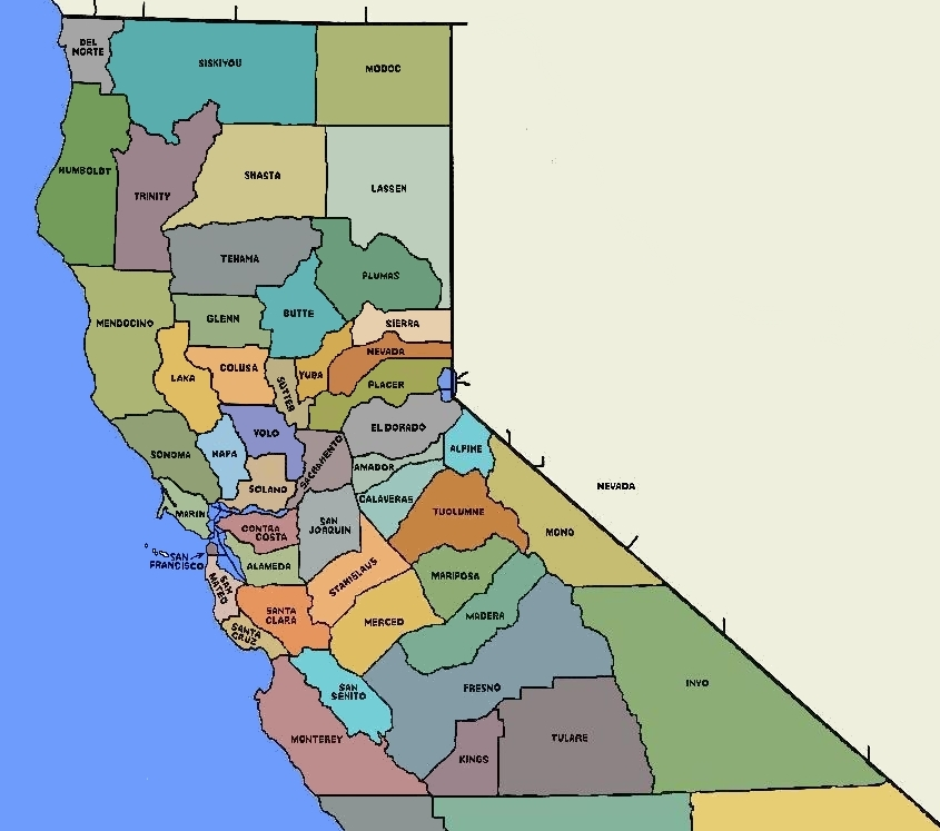 FileNorCal Counties Mapjpg Wikimedia Commons - California map major cities