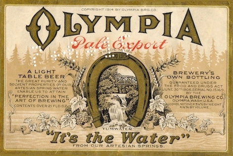 Sign olympia beer Olympia Brewery