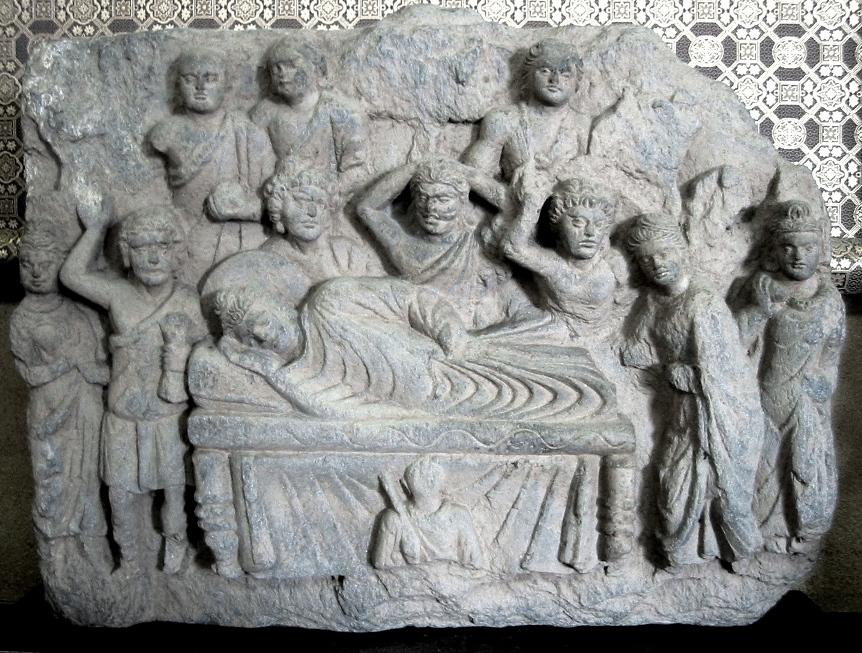 The death of the Buddha, or Mahaparinirvana, Gandhara 2-3rd century.