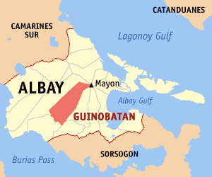 Map of Albay showing the location of Guinobatan