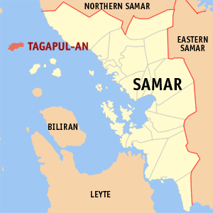 Map of Samar showing the location of Tagapul-an