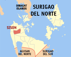 Map of Surigao del Norte showing the location of Sison