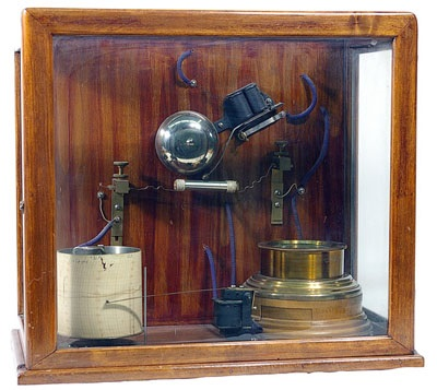 One of Popov's receivers, with chart recorder (white cylinder) to record lightning strikes