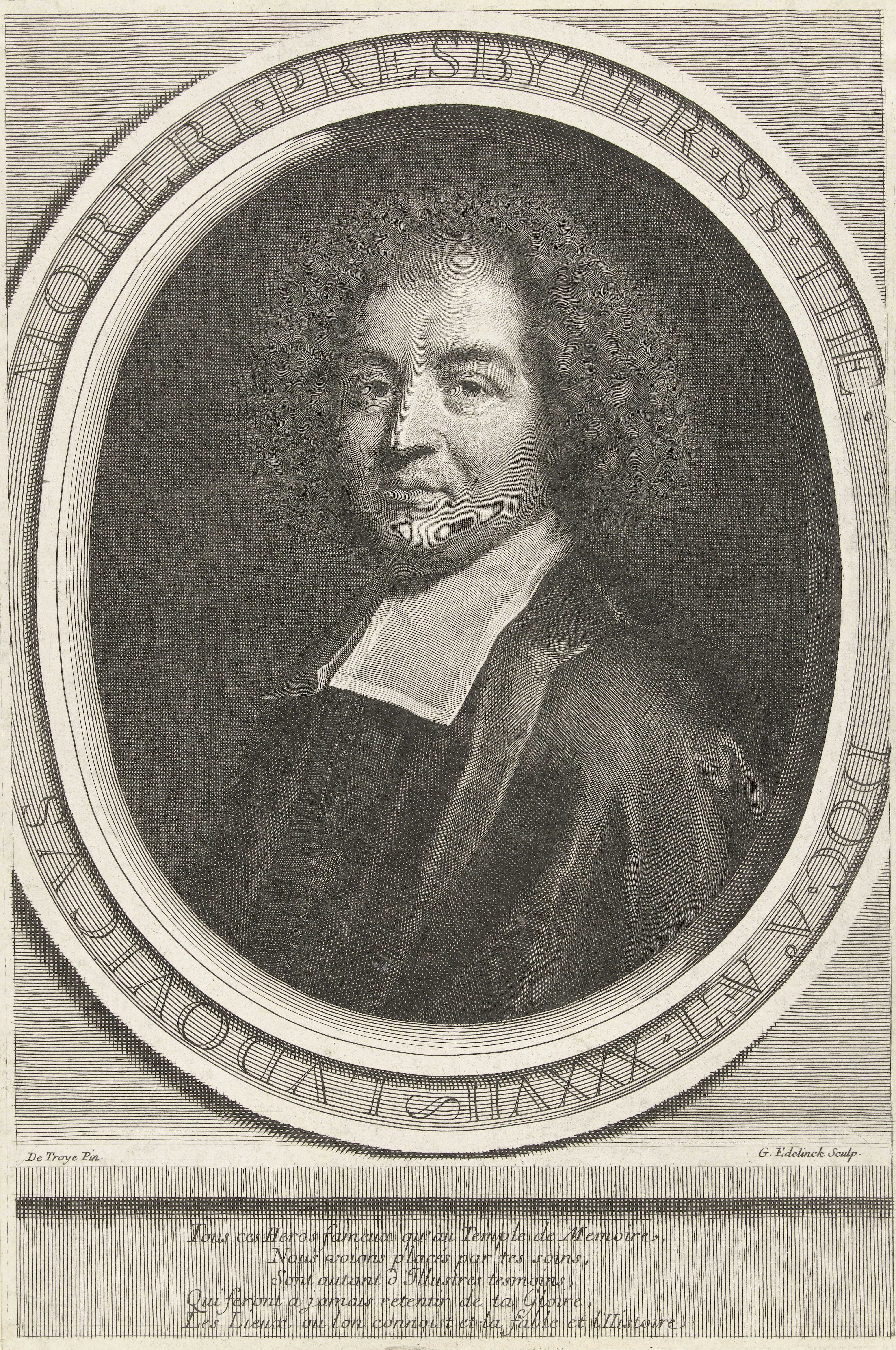 Louis Moréri, frontispiece, etching by ''Gerard Edelinck'' after a drawing by ''De Troyes'', 17th century