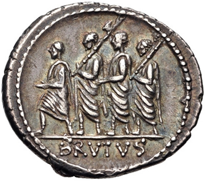 Lictors on a coin of Brutus, alluding to his ancestor, the first consul. (Courtesy of Creative Commons)