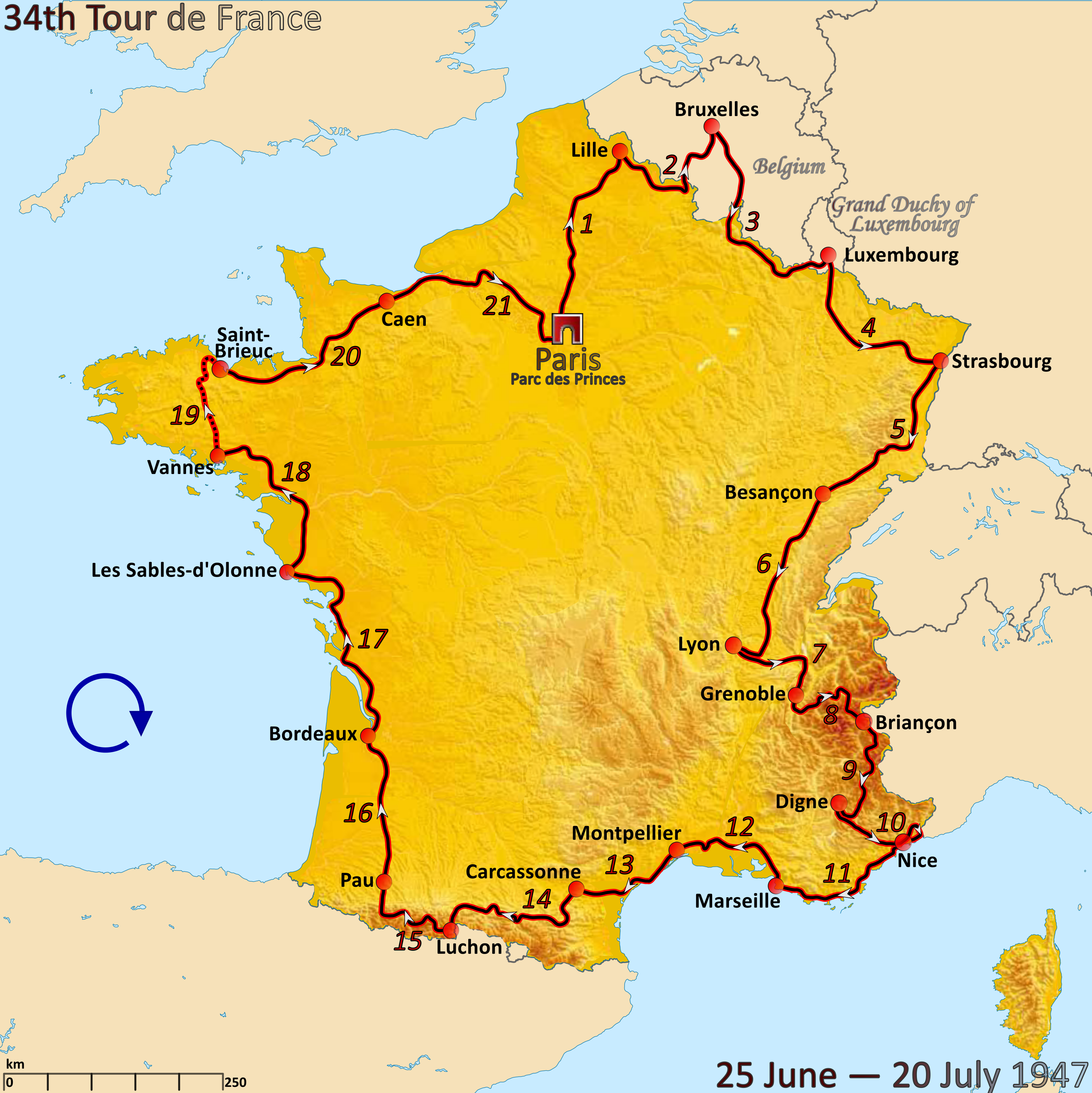 File Route Of The 1947 Tour De France Png Wikimedia Commons