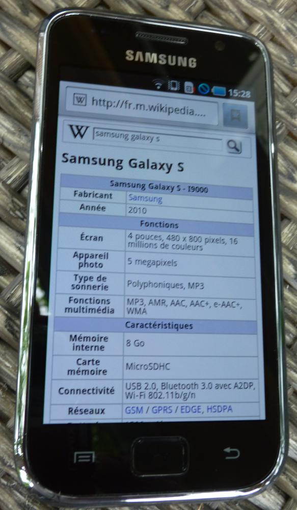 Samsung Galaxy S, image courtesy of Wikipedia