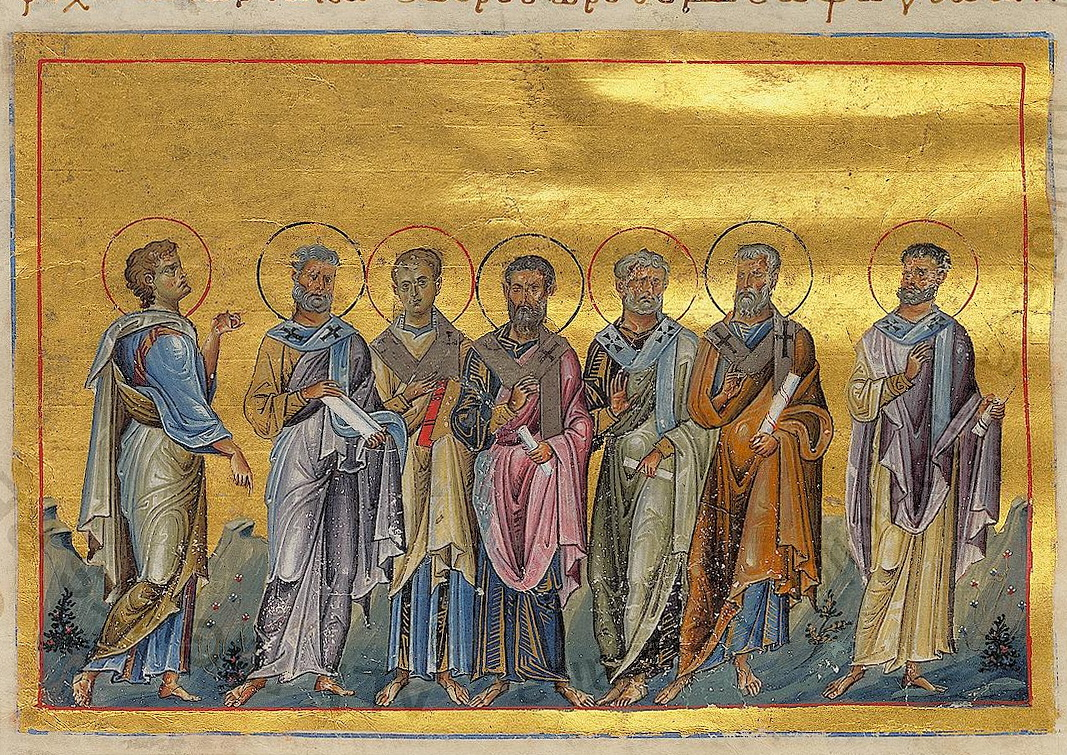 Sosthenes, Apollo, Cephas, Tychicus, Epaphroditus, Cæsar and Onesiphorus of 70 disciples (Menologion of Basil II).jpg
