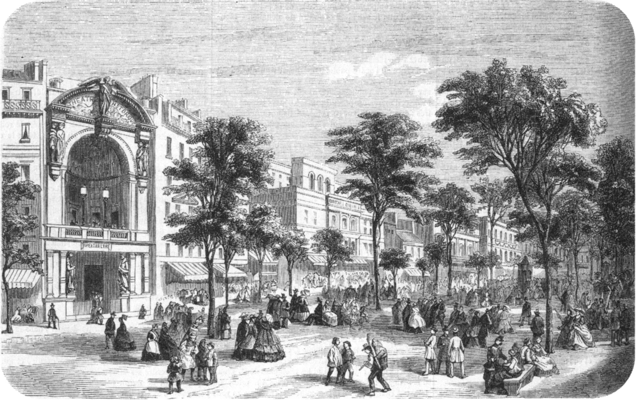 El Théâtre Historique de París, una de las sedes de la compañía del Théâtre Lyrique, en 1862.