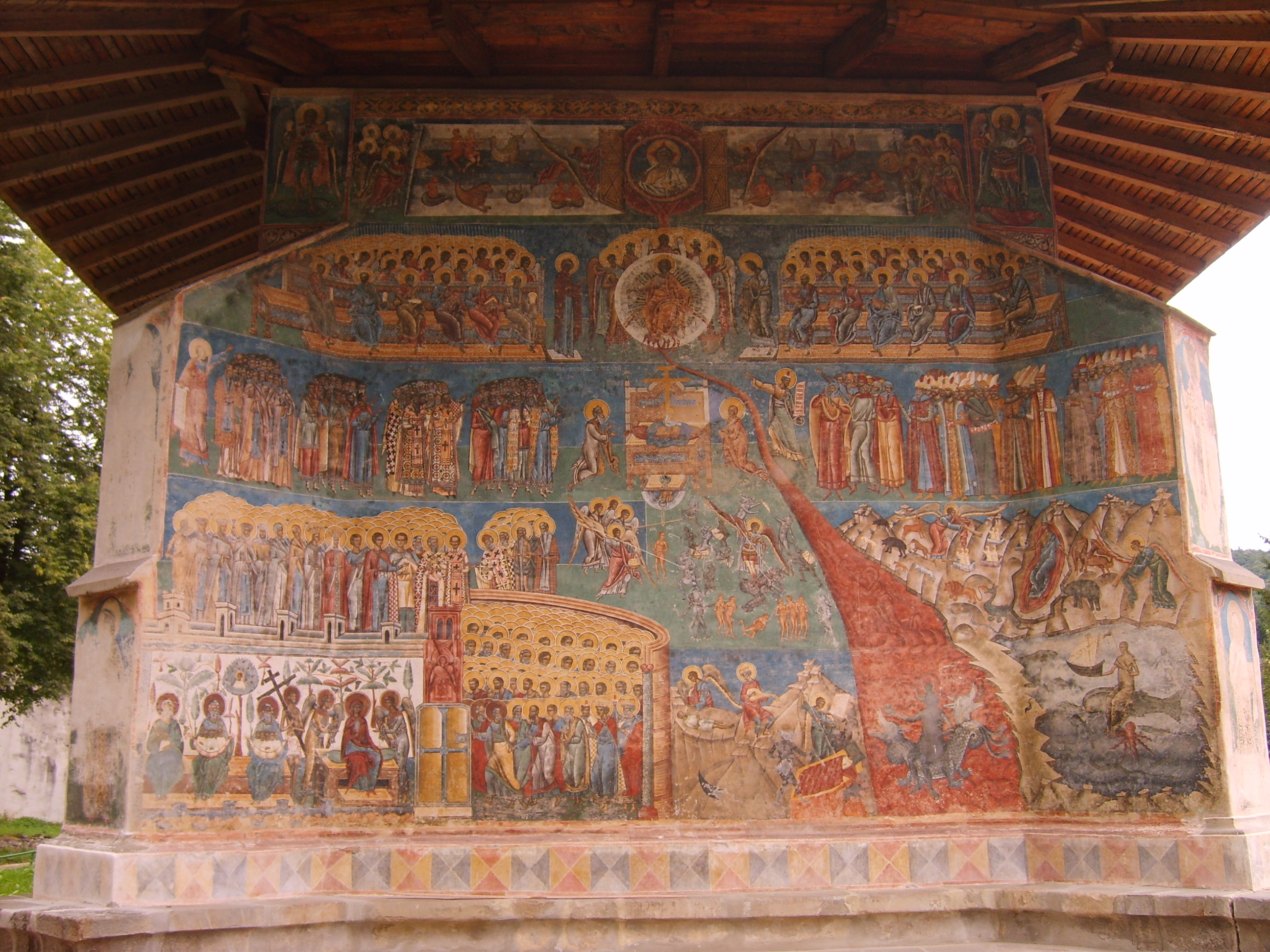 The Last Judgement, painting Orthodox Byzantine style on the walls of the monastery Voroneţ built in 1488 in Romania.