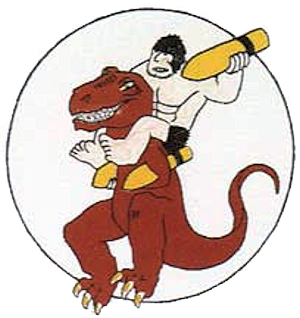 World War II emblem of the 327th Bombardment Squadron, featuring characters (Alley Oop and Dinny) from the Alley Oop comic strip - Boeing YB-40 Flying Fortress
