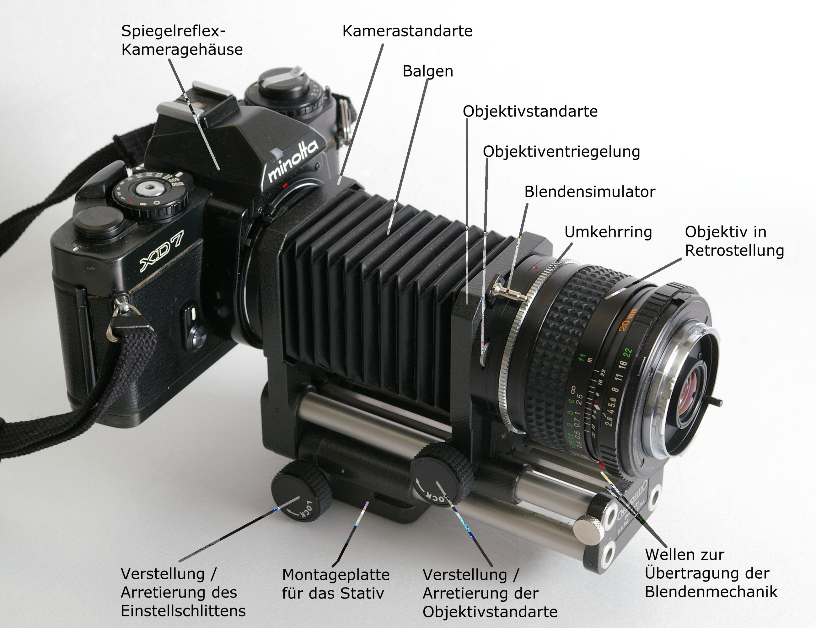Datei automatik balgengeraet mit kamera objektiv und umkehrring