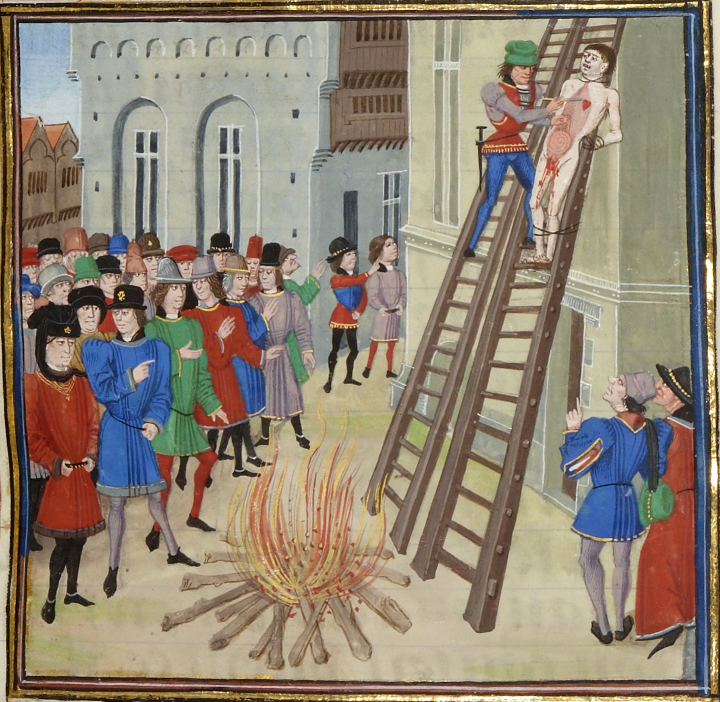 The execution of Hugh Despenser the younger, from a manuscript of Jean Froissart.