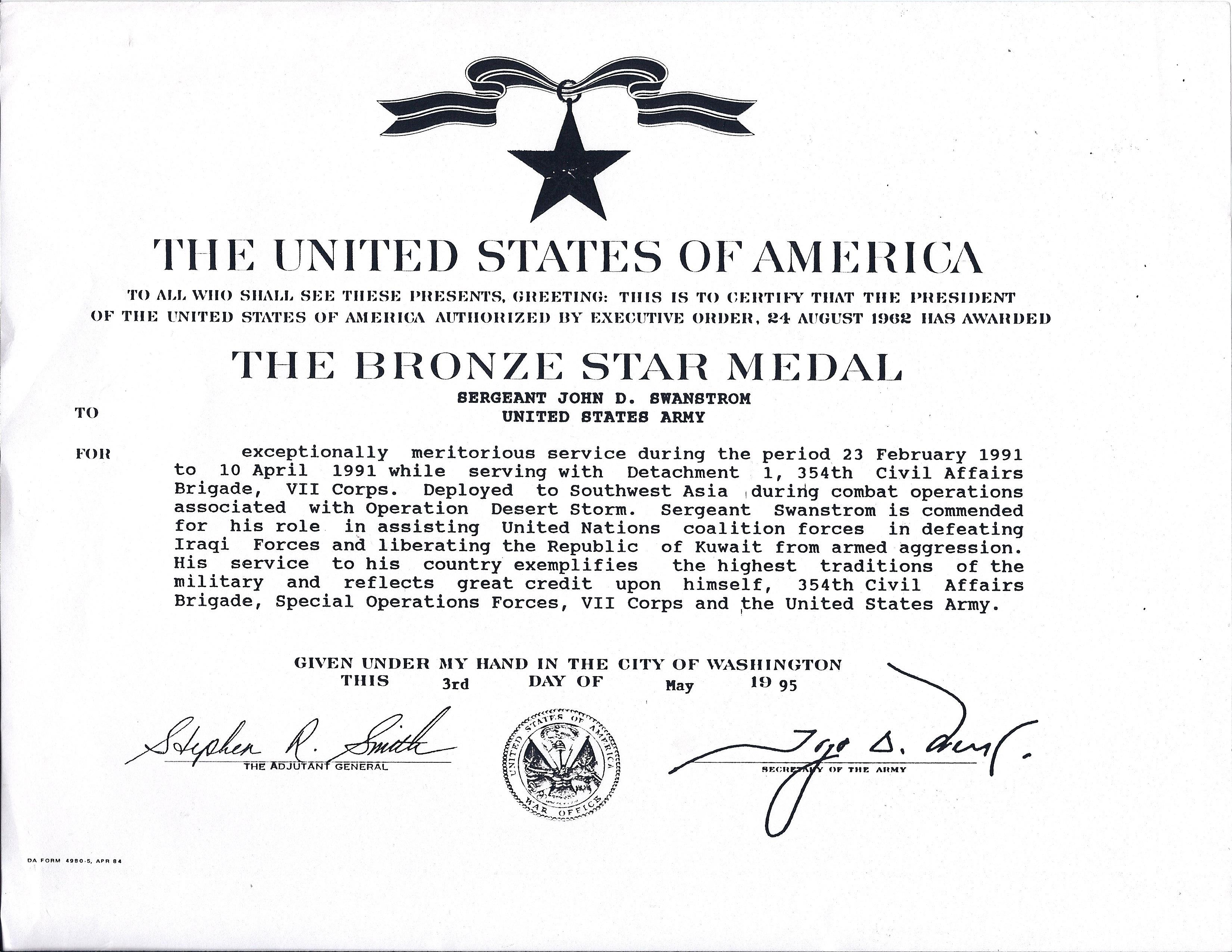 Filebronze Star Medal Jackswanstromg Wikimedia Commons