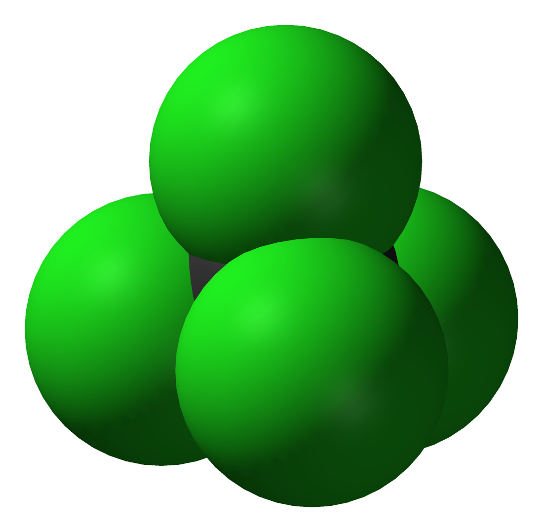Space-filling model carbon tetrachloride