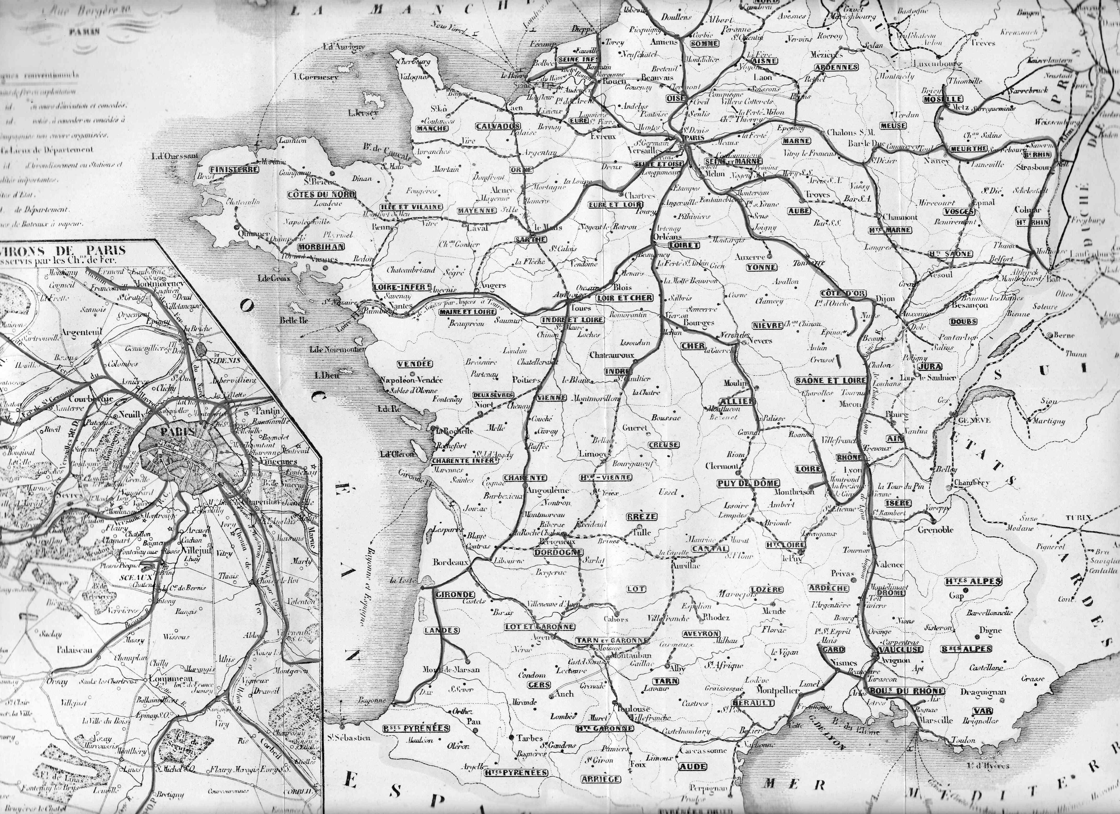 Carte chaix 1854-1855 France