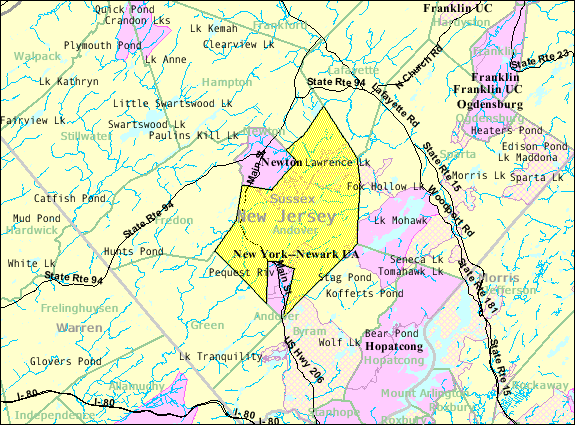 Census Bureau map of Andover Township, New Jersey